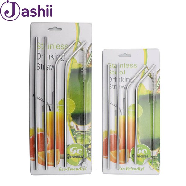 JASHII 4Pcs Stainless Steel Drinking Straws With Cleaner Brush Straight Bend Reusable Drinking Straw Mug Cup Bar Accessories