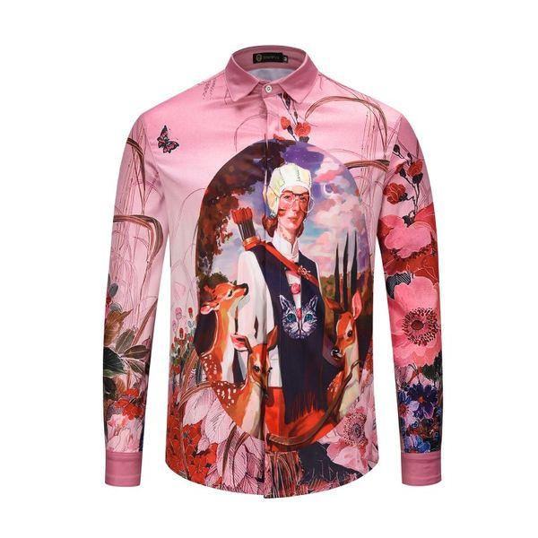 2018 High Quality Brand Mens Shirt Men's Fashion Dress Shirts Casual Long Sleeve Cotton Shirts Designer 3D Shirt XMH9137