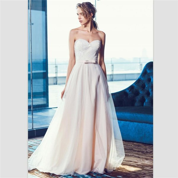 Light Pink Organza A Line Wedding Dresses 2018 Sexy Sweetheart Lace Up Beach Bridal Dresses Custom Pick Ups Lace Bridal Gowns With Belt