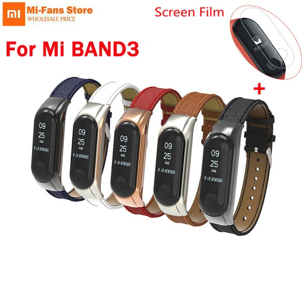 Free Film for Xiaomi Smart Band 3 Leather wrist strap For Xiao mi Mi Band3 Bracelet Strap Miband 3 Colorful Metal Case Wristband