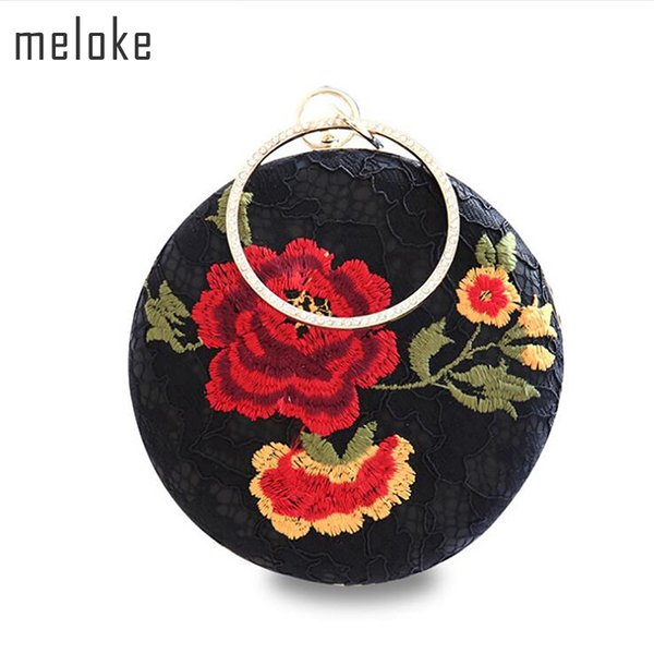 Meloke 2018 high quality black lace embroidery rose flowers evening bags luxury round shaped wedding dinner bags clutch purse Y18103004
