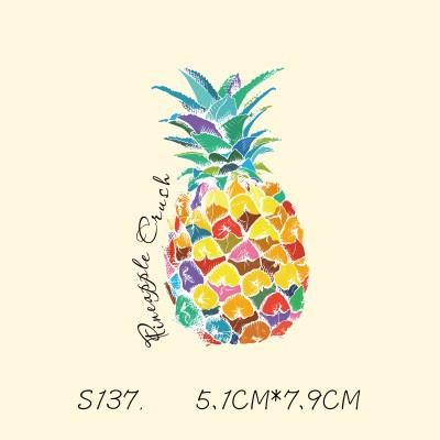 best selling DIY Stickers Pineapple Patches Sticker For T shirt Funny Iron-on Transfers Patches Magic Sticker For Clothes