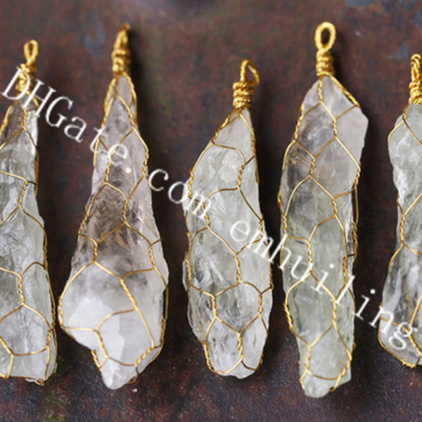 10Pcs Handmade Rare 40-60mm Freeform Raw Rough Natural Green Crystal Gold Plated Wire Wrapped Stone Point Pendants Physical And Mental Power