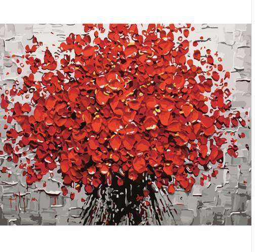 Pittura senza cornice rossa di Diy Digital Flower By Numbers Pittura astratta moderna della parete di arte della parete per la decorazione domestica