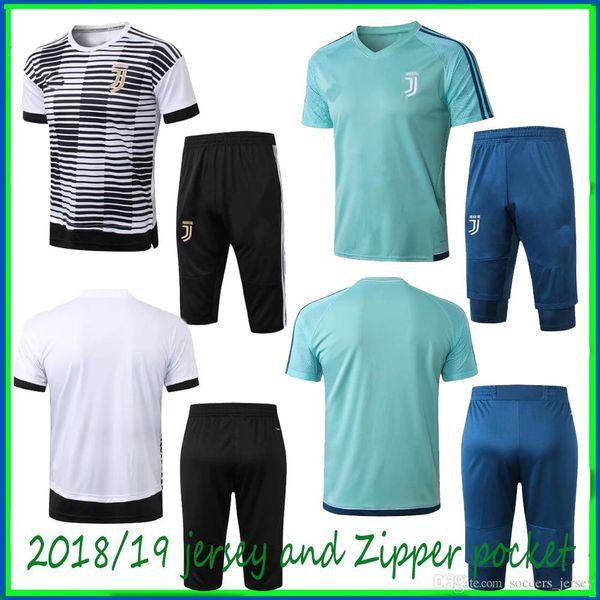 Short sleeve Juventus pad printing to white juve jersey 18/19 juve jersey adlut suit Zip pocket