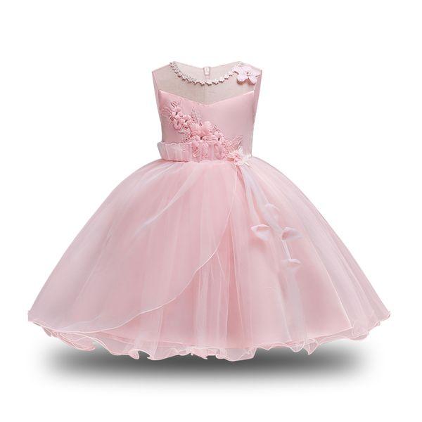Girls Pink Lace Princess Dress 2018 Elegant Toddler For Girls Party Dresses Christmas Costume For Kids Dresses Children Clothing