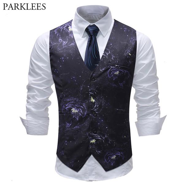 Mens Hipster Floral Print Suit Vest 2018 Brand New Single Breasted Waistcoat Men Wedding Party Busines Vest Men Chaleco Hombre