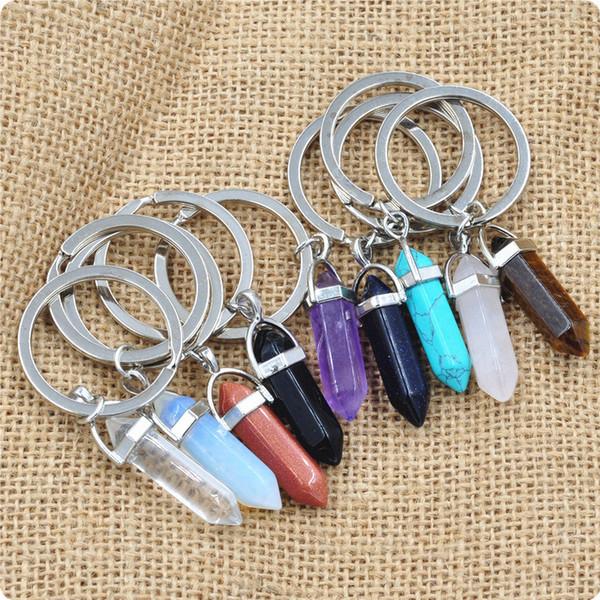 Altıgen prizma Doğal Taş Kolye Anahtar yüzükler Bullet Kristal Charms Anahtarlıklar Halka Tutucu Takı Moda Aksesuarları