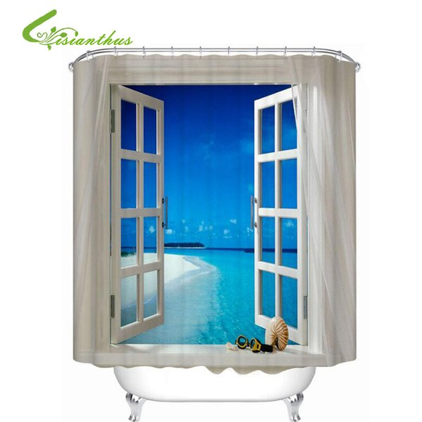 Großhandel 3D Fenster Gedruckt 180 * 200 Cm Wasserdicht Duschvorhang  Polyester Stoff Bad Vorhang Bad Vorhänge Dekoration Von Huayama, $25.23 Auf  ...