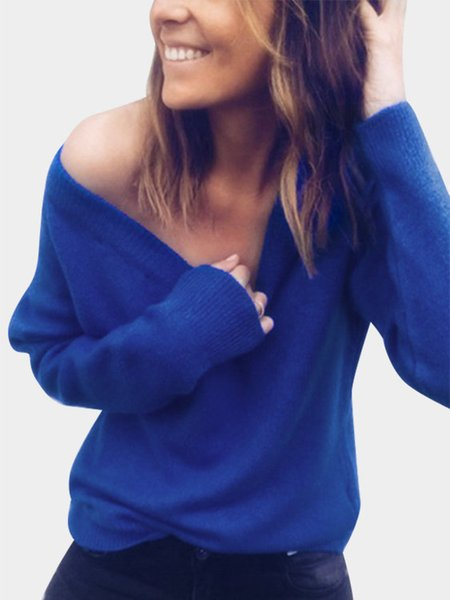 Wholesale New Style Deep V Neck Backless Knitted Women Cardigan Long Sleeved Bottoming Designer Sweater Sexy Pure Color Women Sweaters