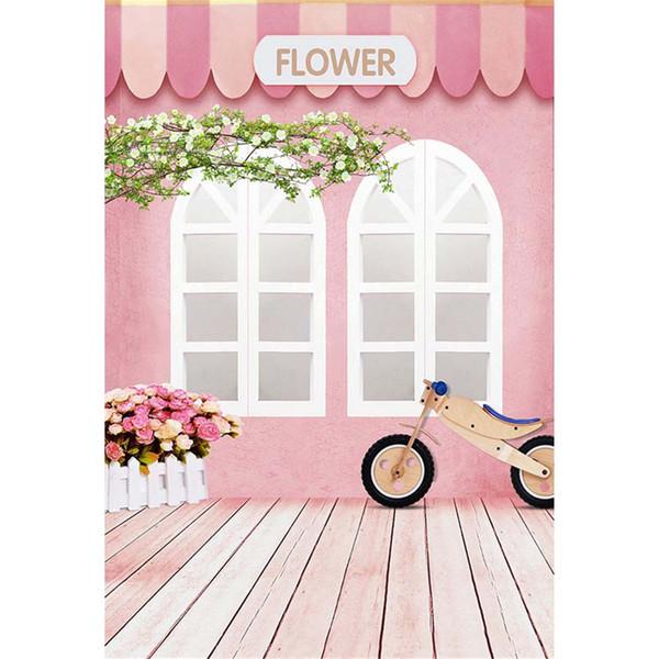 Rosa Wand Weiß Windows Baby Kinder Fotografie Kulissen Holzboden Printed Reben Zaun Blumen Bike Kinder Foto Hintergründe für Studio