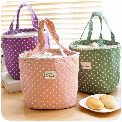 Lovely Polka Dot Cotton Canvas Lunch Bags Korean Cute Ice Pack Cooler Bag