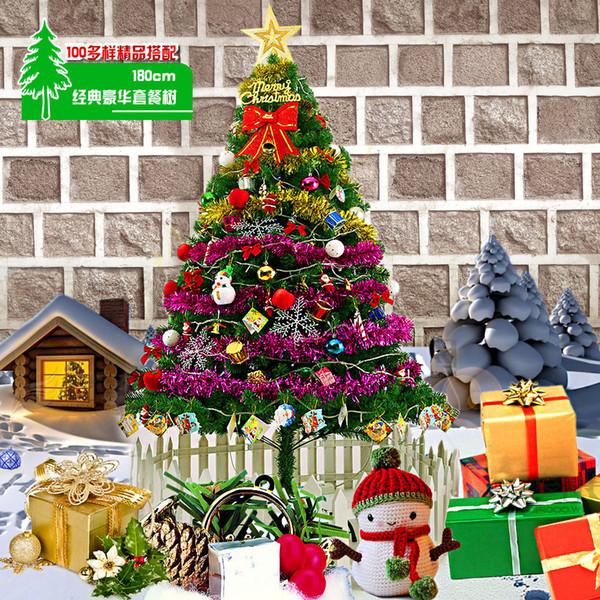 DIY Christmas Tree 180CM Tree Simulation Green Christmas New Year Decorations Metal Stand Xmas with Star Ball Snowman Etc