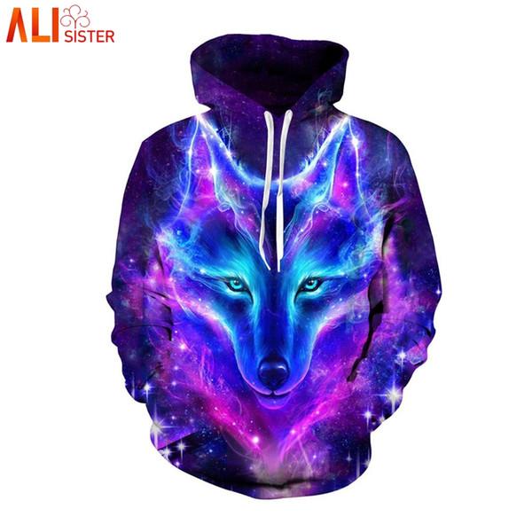 Alisister Plus Size Espaço Galaxy Lobo Com Capuz Das Mulheres Dos Homens de Outono Inverno Pullover Top Camisolas Casuais Sweat Homme Treino 3D