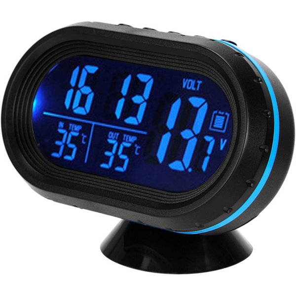 Wholesale-3 In 1 Car Kit Electronic Clock Thermometer Voltmeter Digital Display Inside And Outside Dual Temperature Measuring Tool With