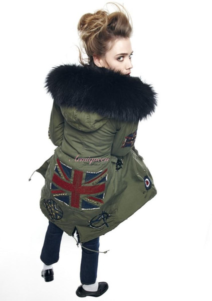 Meifeng brand Black raccoon fur trim women snow jackets UK Flag Beading coat black rabbit fur lining army green Military canvas long parka