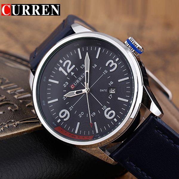 CURREN Men's Watches Top  Blue Male Clock Man Quartz-Watches Men Date Wristwatch Hodinky Relogio Masculino 8215