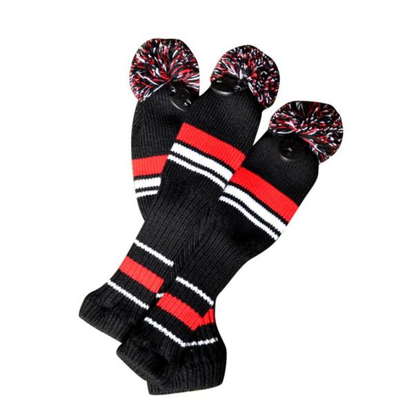 Ein Satz Wolle Knit Golf Clubs Set Fahrer 3 # 5 # Fairway Holz Kopfbedeckungen Schwarz Rot Weiß Farbe