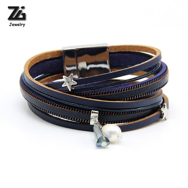 ZG Multiple Layers Punk Leather Bracelet For Men & Women Vintage Simulated Pearl Row Rhinestone Braid Charms Bracelets femme