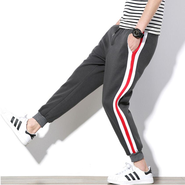 Dropshipping Men Sweatpants 2018 Brand Korean Fashion Thick Side Track Long Trouser Slim Casual Joggers Hip Hop Streetwear Grey
