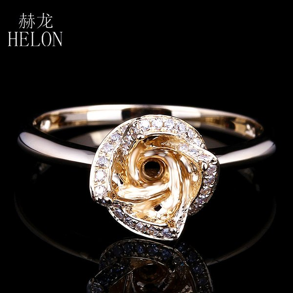 HELON 6mm Round Solid 10K Yellow Gold Semi Mount Fine Diamonds Ring Flower Engagement Wedding Ring JewelryWomen's New design