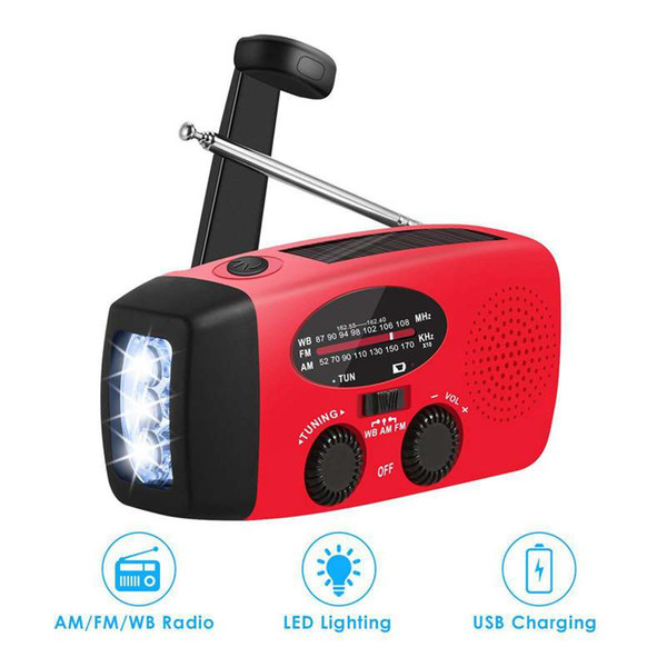 Multifunctional Hand radio Solar Crank Dynamo Powered AM FM NOAA Weather Radio Use Emergency LED Flashlight and Power Bank