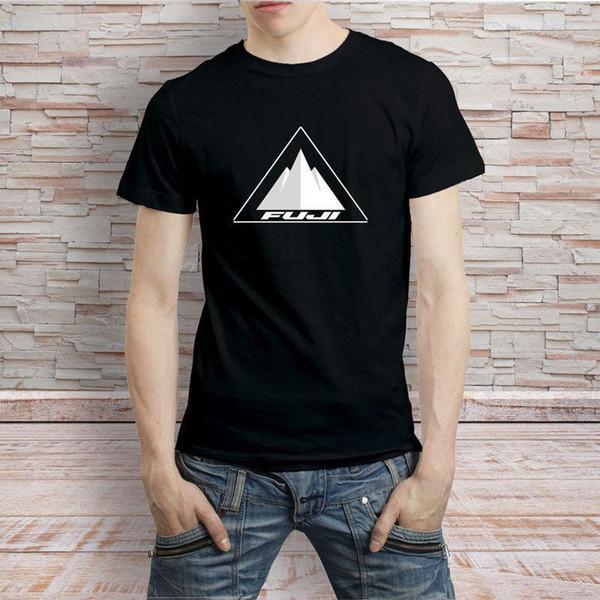 T-shirt preto do logotipo da bicicleta da bicicleta de FUJI