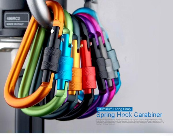 Top Quality Aluminum D-ring Snap Spring Hook Carabiner Lock Clip Keychain Climbing Backpack 8cm Mix Color