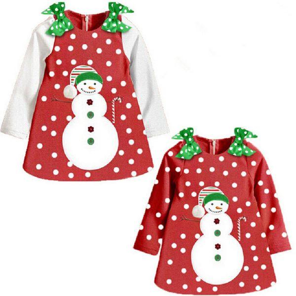 girls christmas dress Long sleeve dot light snow flower snowman girl Christmas dress costume children clothes