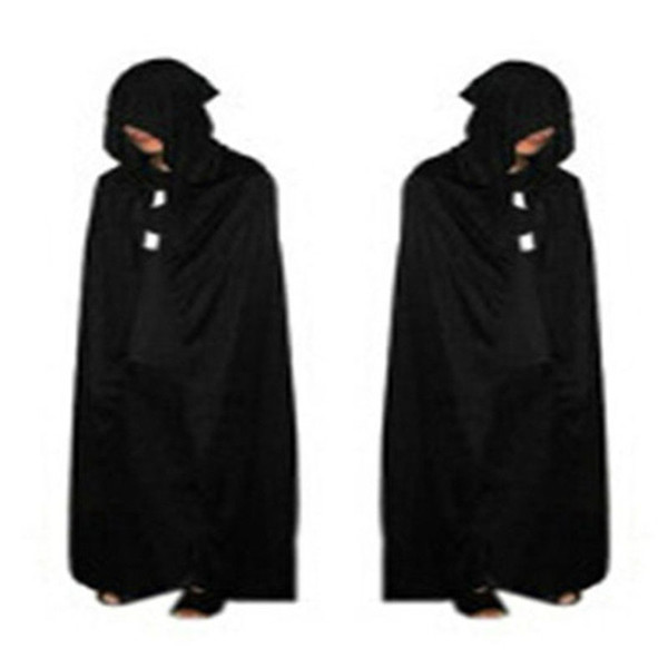 Halloween Decorations Black Halloween Costume Theater Prop Death Hoody Cloak Devil Long Mantle Wizard/ Vampire Dress Smocks FA04