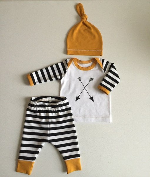 Kids Baby Girl Boy Striped Tops T-shirt+Pants Hat Pajamas Set Outfits Clothing