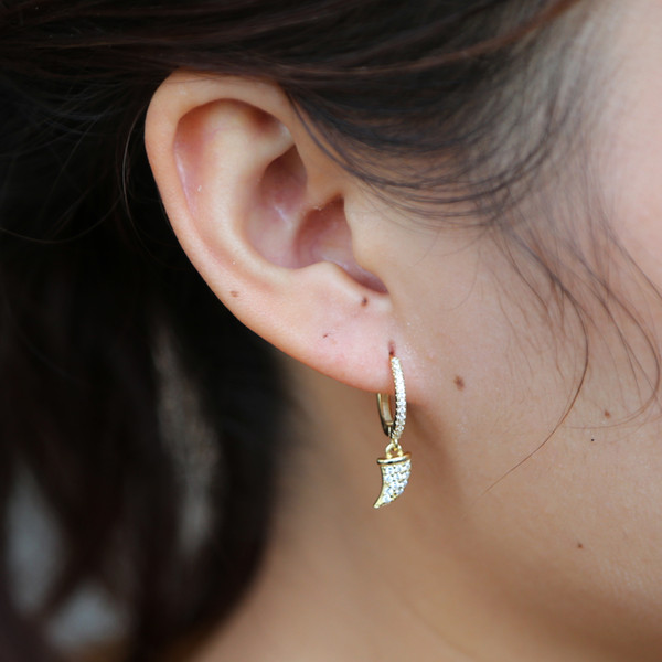 New vintage fashion gold horn dangle earings micro pave cubic zirconia chic horn earrings 925 sterling silver jewelry for women