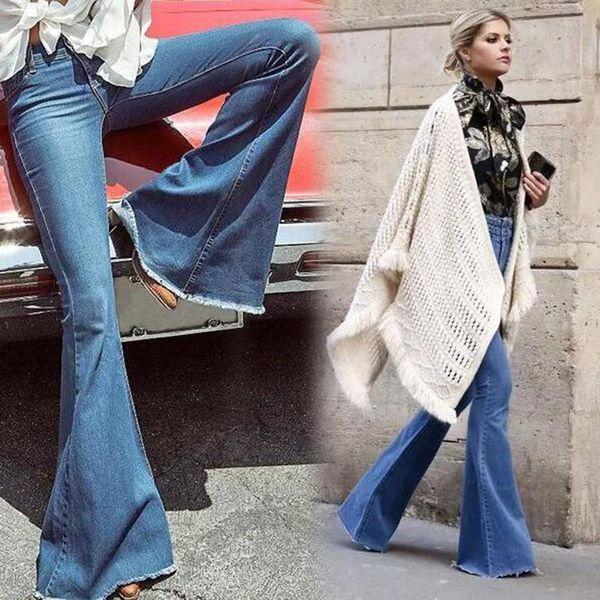 Jeans a vita bassa vintage a vita bassa Jeans a campana stile retrò Jeans aderenti con fondo a campana Pantaloni donna in denim a gamba larga blu scuro
