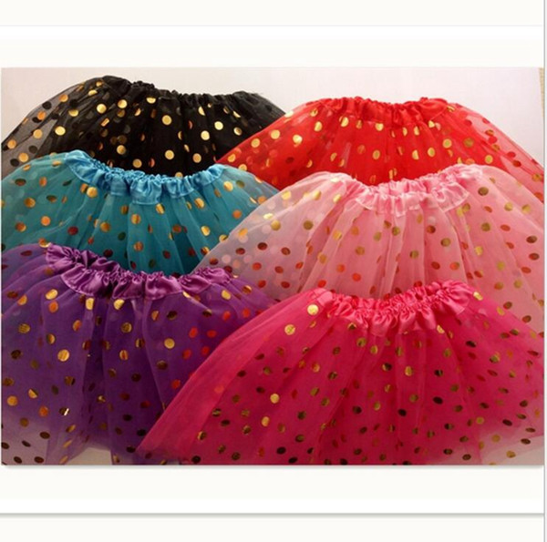 Girls Christmas Skirt Ins Kids Gold Polka Dot Tutu Dress Girl Pettiskirt Infant Photography Props Fashion Baby Girl Clothes YL73