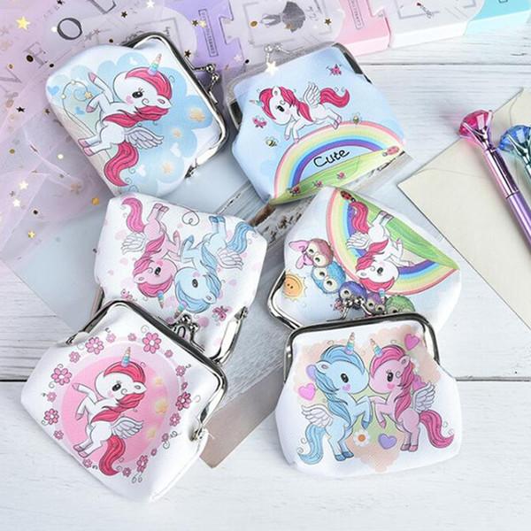 Mode Neuheit Mädchen Retro Vintage Unicorn Kleine Geldbörse Nette Haspe Handtasche Clutch Bag PU Leder Münze Geldbörsen Weihnachten und Neujahr Kleines Geschenk