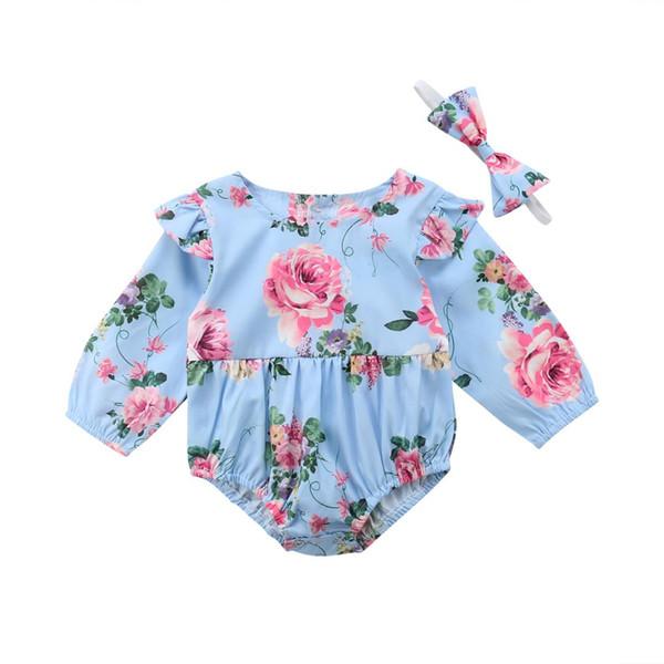 Kleinkind Kleinkind Baby Mädchen rosa Blume Langarm Body Overall 2 Stück Outfits Set Größe 0-24M