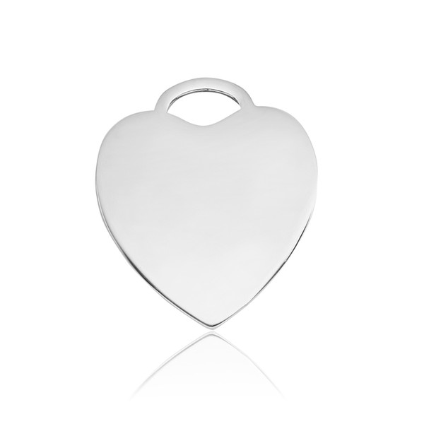 Heart Tags Stainless Steel Charms Pendant Necklaces and Keychains Jewelry Making DIY Dog Tags Silver 20 PCS wholesale