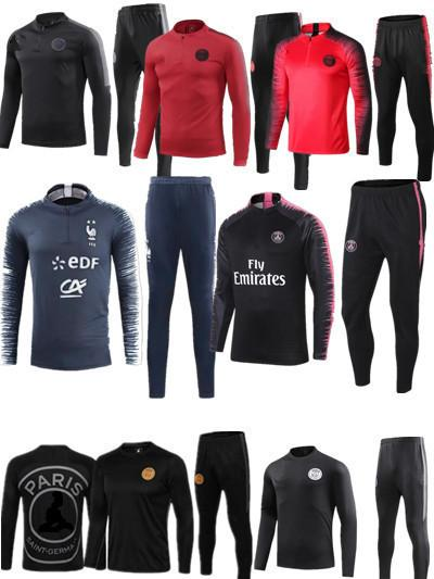 7f672d7b1 2018 19 Two stars FranceS tracksuit training suit mbappe PSG CAVANI soccer  Jerseys kit VERRATT paris football jacket tracksuit set