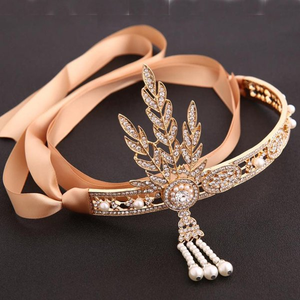 Vintage Hairband Great Gatsby Hair Accessories Crystal Leaf Bridal Headpiece Pearl Tiara Gold Color Headband For Women Wedding S919