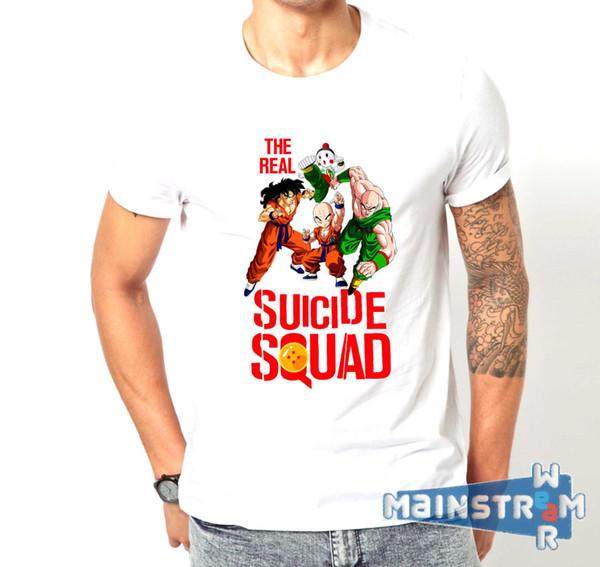 Nueva camiseta caliente de la manera del verano 2018 Maglietta Real Suicide Squad Dragon Ball divertido Mash encima de la camiseta