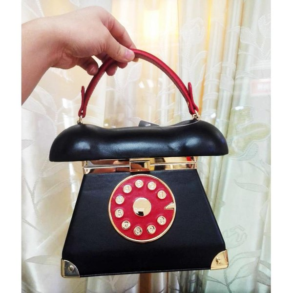 Nice- New Fashion Vintage Phone Styling Red Black Pu Leather Ladies Evening Bag Casual Totes Purse Womens Handbags Clutches Bag Z