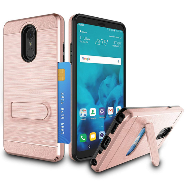 For ZTE Grand X4 Sequoia ZMAX PRO 2 tempo X WARP 8 Card Holder Kickstand Hybrid Dual Layer Hard PlasticTPU Drop Protection Case