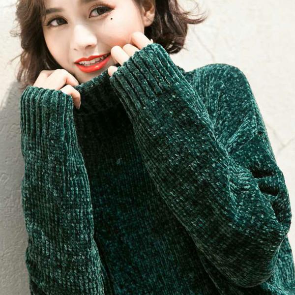 NIJIUDING grosso quente gola blusas de chenille oversized manga comprida de inverno outono básico pullovers soltos senhoras causal tops Y1891804