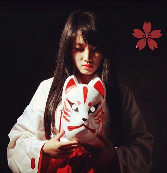 9c86123923bb Acquista Full Face Dipinta A Mano Maschera Volpe Giapponese Demone ...