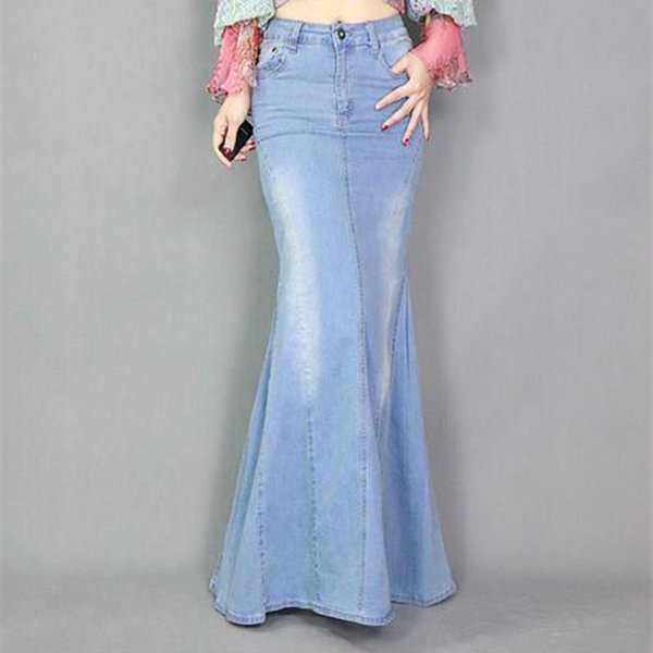 Europa Mode Expansion Bottom Fishtail Bodenlangen Lange Denim Rock Frauen Split Maxi Meerjungfrau Weibliche Casual Röcke