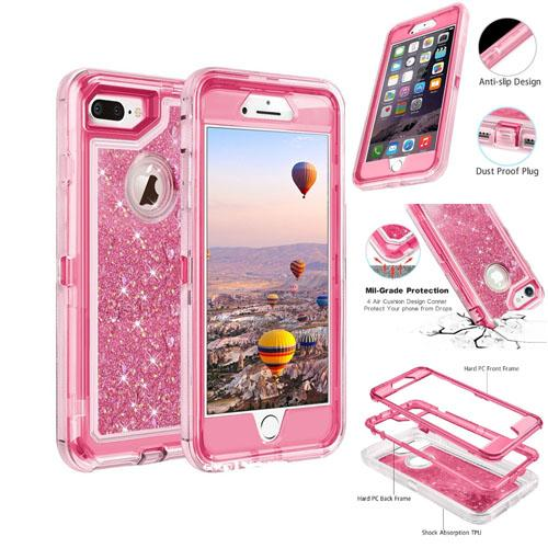 High quality bling crystal Liquid glitter case 360 degree cellphone protector Defender rugged shockproof waterproofFor iphone x 6 7 8