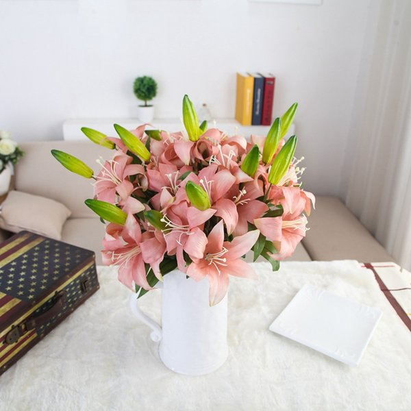 1pc Retro oil painting style 2heads Lily artificial fake silk flower home room garden party wedding office table decoration