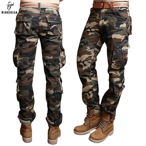 Homme Coton Armée Militaire Cargo Vêtement de coupe droite Casual Pantalon De Travail Pantalon