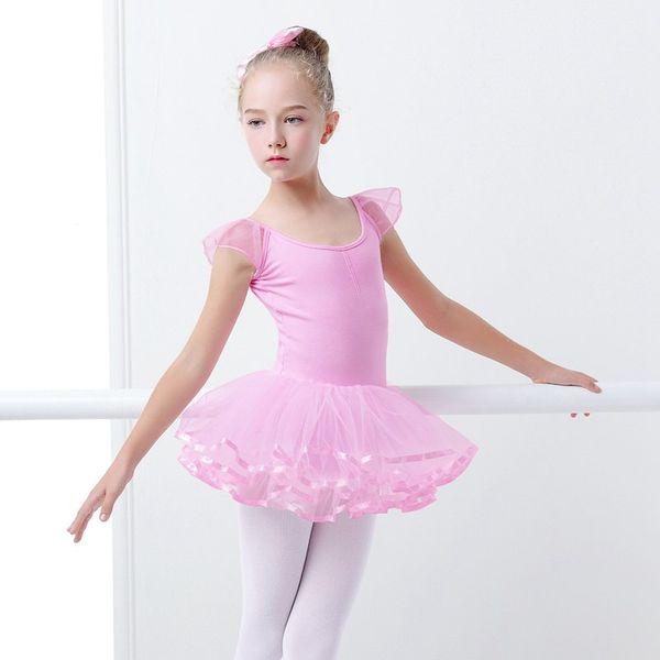 Sweet Pink Ballet Leotard para Niños Ballet Tutu Vestido de Baile Fairy Leotard Para Niñas Yoga Gimnasia Artística Utilice Bailarina