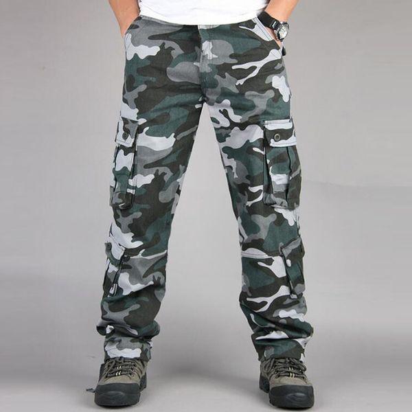 Camuflagem Militar Calças Dos Homens Casuais Calças De Carga Camo Hip Hop Basculadores Streetwear Moda Urbana Macacão Tactical Calças 40 42